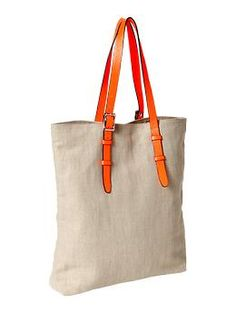 Canvas tote from Gap...I want to try to make this with a belt or 2 from a thrift store.