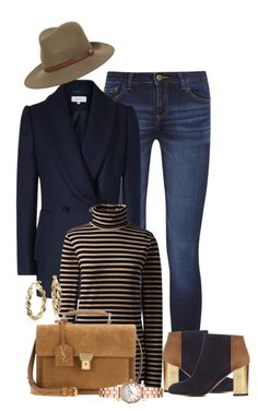"""""""Navy&Tan"""" by littlefeather1 ❤ liked on Polyvore featuring DL1961 Premium Denim, Lands' End, Yves Saint Laurent, Marni, rag & bone, Blue Nile, Michael Kors, topsets, polyvoreeditorial and outfitsonly"""