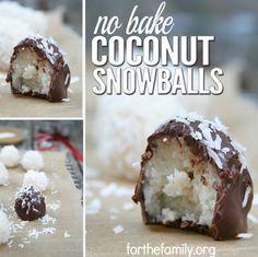 No Bake Chocolate Coconut Snowballs