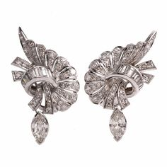 Vintage Diamond Cluster Platinum Drop Earrings by  Dover Jewelry & Diamonds