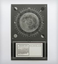 2014 Letterpress Moon Calendar - I LOVE this! It even comes with a tear off notepad. $30