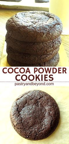 Chocolate Cookies with Cocoa Powder-These delicious cocoa powder cookies are perfect to stop your chocolate craving! They are soft and moist in the middle, crispy at the edges. This is a very easy recipe that you can make in a very short time. Recipe on w Cocoa Cookies, Galletas Cookies, Cocoa Powder Recipes, Cocoa Recipes, Soft Cookie Recipe, Easy Cookie Recipes, Recipe For Soft Chocolate Cookies, Cocoa Powder Chocolate Recipe, Diet