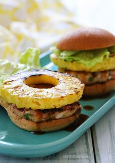 Grilled shrimp burgers topped with grilled pineapple and a homemade pineapple teriyaki sauce – just under 300 calories!