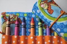 Crayon Roll Wallet Tigger Includes 8 Crayons by adorableblessings
