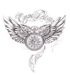 carpe diem tattoo commision by on DeviantArt Cute Thigh Tattoos, Tattoos Masculinas, Cool Chest Tattoos, Chest Tattoos For Women, Chest Piece Tattoos, Watch Tattoos, Cute Tattoos, Body Art Tattoos, Sleeve Tattoos