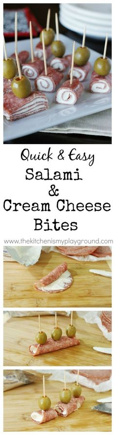 Quick and easy Salami & Cream Cheese Bites ~ a classic crowd-pleaser you can whip up in minutes. http://www.thekitchenismyplayground.com