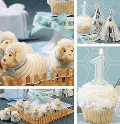 Sheep themed party.  Repinning for @Adrienne Holliday 1st Birthday Boy Themes, Baby First Birthday, First Birthday Parties, Birthday Bash, Cute Lamb, Baby Boy Shower, Baby Shower Parties, Baby Dedication, Baby Christening