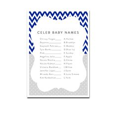 Baby Shower Game - Celeb Baby Names - Navy Blue Chevron - Instant Download Printable