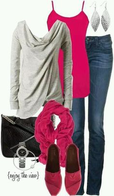 love the sleek backwards/upside-down wrap style of the sweater and the pop of accent color provided by the cami & shoes.