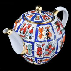 Russian Imperial Lomonosov Porcelain Teapot Tulip Russia Lubok 22k Gold RARE | eBay