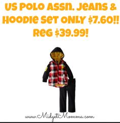 Awesome deal to grab for the fall!! US Polo Assn Jeans and Hoodie set only $7.60!!
