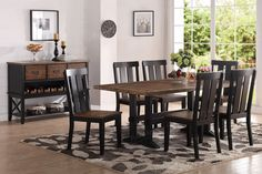 """Poundex Dining Table F2323 $190  Description:  Textured hues of distressed wood finish is provided with this wooden dining set.  It features a table and chairs covered in the finish with a dark brown finish. Available in a selection of sizes that include a round table (seats up to four) or standard or counter height (seats up to six)..  (Chairs are optional )  Materials:  Rubber Wood Pine Wood Dimensions :  Dining Table : 72"""" x 40"""" x 30""""H"""