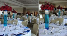 red white and blue wedding centerpieces