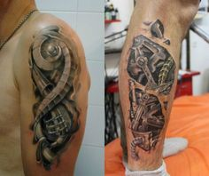 biomechanik tattoo motive arm tattoos pinterest deko. Black Bedroom Furniture Sets. Home Design Ideas