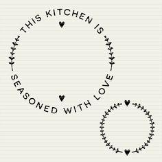 DIY personalize SVG Kitchen Seasoned with Love frame - apron towel set monogram circle file design - svg eps dxf Cricut & Silhouette cutfile Love Design, Diy Design, Kitchen Wall Decals, Love Frames, Monogram Frame, Cricut Monogram, Towel Set, Print And Cut, Diy Wall