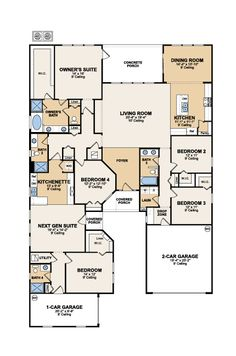 Genesis Next Gen floor plan - 4 bedrooms, 3.5 bathrooms