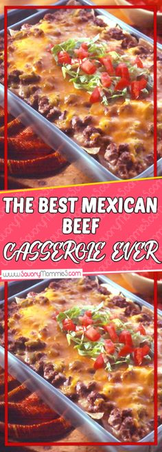 This The best Mexican Beef Casserole Ever is the most comforting of all Easy Dinner Recipes. It is warm, delicious, filling, irresistible and easy to prepare. It is the perfect Easy Dinner Meals! Mexican Dishes, Mexican Food Recipes, Healthy Recipes, Organic Recipes, Snack Recipes, Mexican Breakfast Recipes, Mexican Meals, Lamb Recipes, Easter Recipes