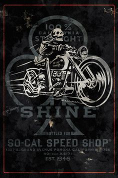 A skeleton on a motorcycle. If I ever run that 1930s game I've been thinking of, this guy is going to be in it.