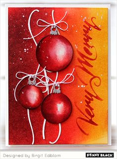 cardmaking and papercrafts with Penny Black stamps and dies, click through for details Christmas Tunes, Christmas Baubles, Handmade Christmas, Christmas Cards, Black Christmas, Penny Black Cards, Penny Black Stamps, Crafts To Do, Paper Crafts