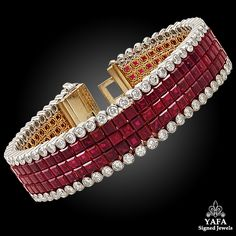 18k yellow gold diamond and mystery-set ruby bracelet, signed by Van Cleef & Arpels