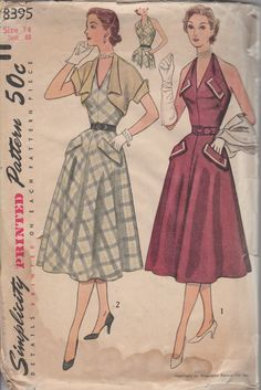 1950's Misses' Halter Dress and Bolero Simplicity 8395 Size 14 Bust 32