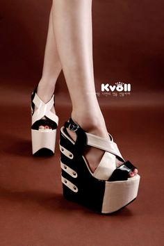 1b31def4ad7c KVOLL 2014 style Pearl Patent leather colors join toghter lady shoes Hollow  out cross wrist belt high heel shoes wedge sandals-in Pumps from.