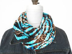 Leopard Infinity Scarf Brown Turquoise Aqua by ModaBellaScarves