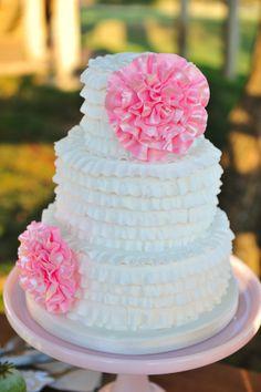 ruffled pink and white wedding cake | Vintage Backyard Wedding Reception | Rekindled Vintage Rentals | Heart Love Weddings