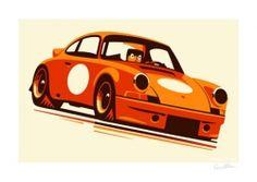 Felix Petrol Porsche 911RSR signed print