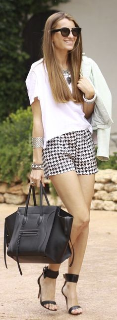 A Bicyclette Black And White Tailored Houndstooth Print Shorts