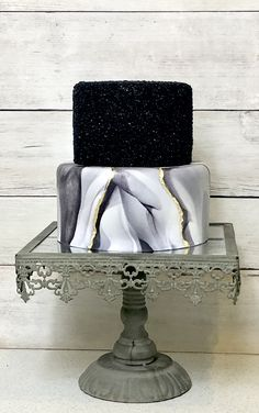 wedding cakes black Two Tier Fondant Wedding Cake, Fake Wedding Cake, Black and Gold Wedding Cake, Faux Wedding Cake, Faux Cake Fake Wedding Cakes, Wedding Cake Prices, Fondant Wedding Cakes, Floral Wedding Cakes, Wedding Cupcakes, Black Wedding Cakes, Floral Cake, Purple Wedding, Lace Wedding