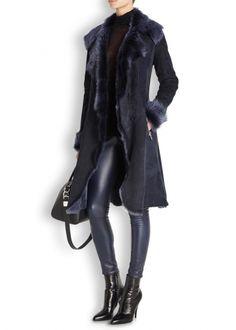 Navy Toscana shearling coat - Coats - All Clothing - Women