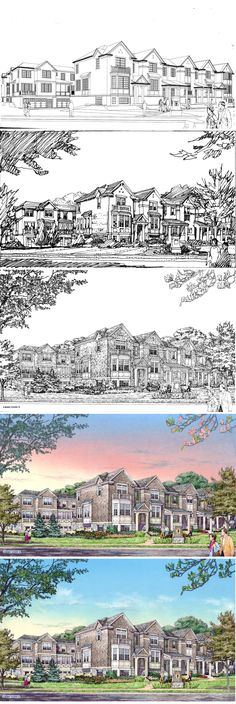 Park Ridge Townhomes.  Revised Color.  Process: Wireframe, composition study, black and white drawing, color drawing, revised color drawing.  Rendering by Bruce Bondy, Bondy Studio, 2014