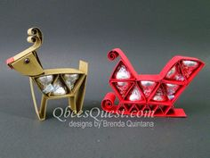 Qbee's Quest Stamping Ideas. Awesome tutorial to make reindeer and sleigh.