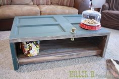Other things can also be repurposed as coffee tables. For example, this table once used to be a door. To make something similar, cut down the door and use the leftover pieces to make the sides of the table. Then add another piece of wood to the bottom to make the shelf. The doorknob is optional.