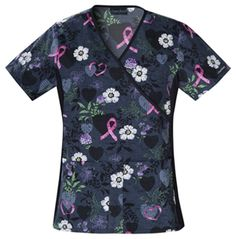 Mock Wrap Top features contrast soft knit side panels and two patch pockets. #scrubs #print #cherokee