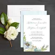Painted Flora wedding invitation in blue