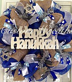 Happy Hanukkah wreath by CustomWreathsAndMore on Etsy, $150.00