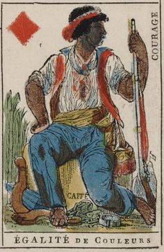 "French Revolution playing card issued 1793, Jack of Diamonds becomes ""Equality of Races"" with the motto ""Courage"""