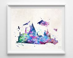 Harry Potter Print Hogwarts Castle Watercolor Type by InkistPrints