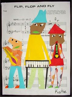 Use sheet music from music teacher - plan lesson with her: they learn the song...we make the musicians and then combine the sheet music and art.