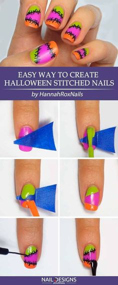 Halloween Nail Art Ideas: Tutorials for Creative Beginners ★ See more: https://naildesignsjournal.com/halloween-nail-art-ideas-creative-designs/ #nails