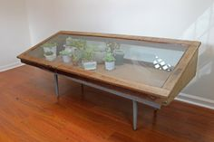 Large Display Case / Vintage Glass Wood Jewelry Display Cabinet / Bakery Display / Glass Terrarium Greenhouse / Countertop Retail Fixture