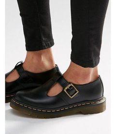 Doc Martens Dr Martens Core Polley T-Bar Flat Shoes – Black #flatsmoda