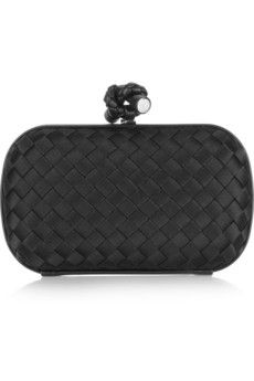 Bottega Veneta The Knot intrecciato satin clutch | NET-A-PORTER