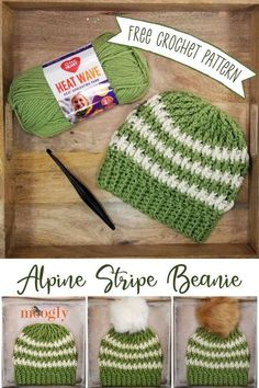 The Alpine Stripe Beanie is the matching hat for the Alpine Pocket Scarf! Cozy, stripey, available in three sizes - free crochet pattern on Moogly! (And there's a matching pocket scarf too!) #freecrochetpattern #redheartyarns #heatwave #mooglyblog #crochetsets #hatandpocketscarf