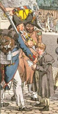 Soldier giving out his lodging details to child to show him directions