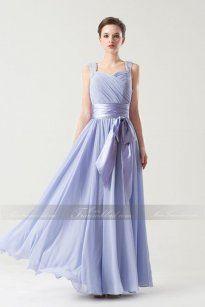 Apartes Lila Bodenlanges A-linie Brautjungfernkleid mit Herz-Ausschnitt aus Chiffon