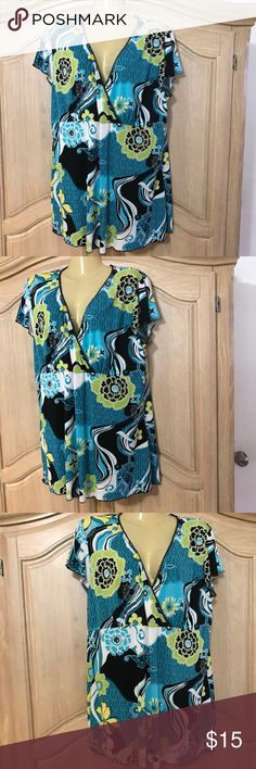 Designer perseption  NEW blouse NEW Blouse with beautiful stamped cross on the  with short sleeves and v neckline size 3 xl. 92% polyester 8% spandex perseption Tops Blouses