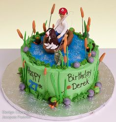Gone Fishing Cake Custom Cakes Pinterest Fishing cakes Cake